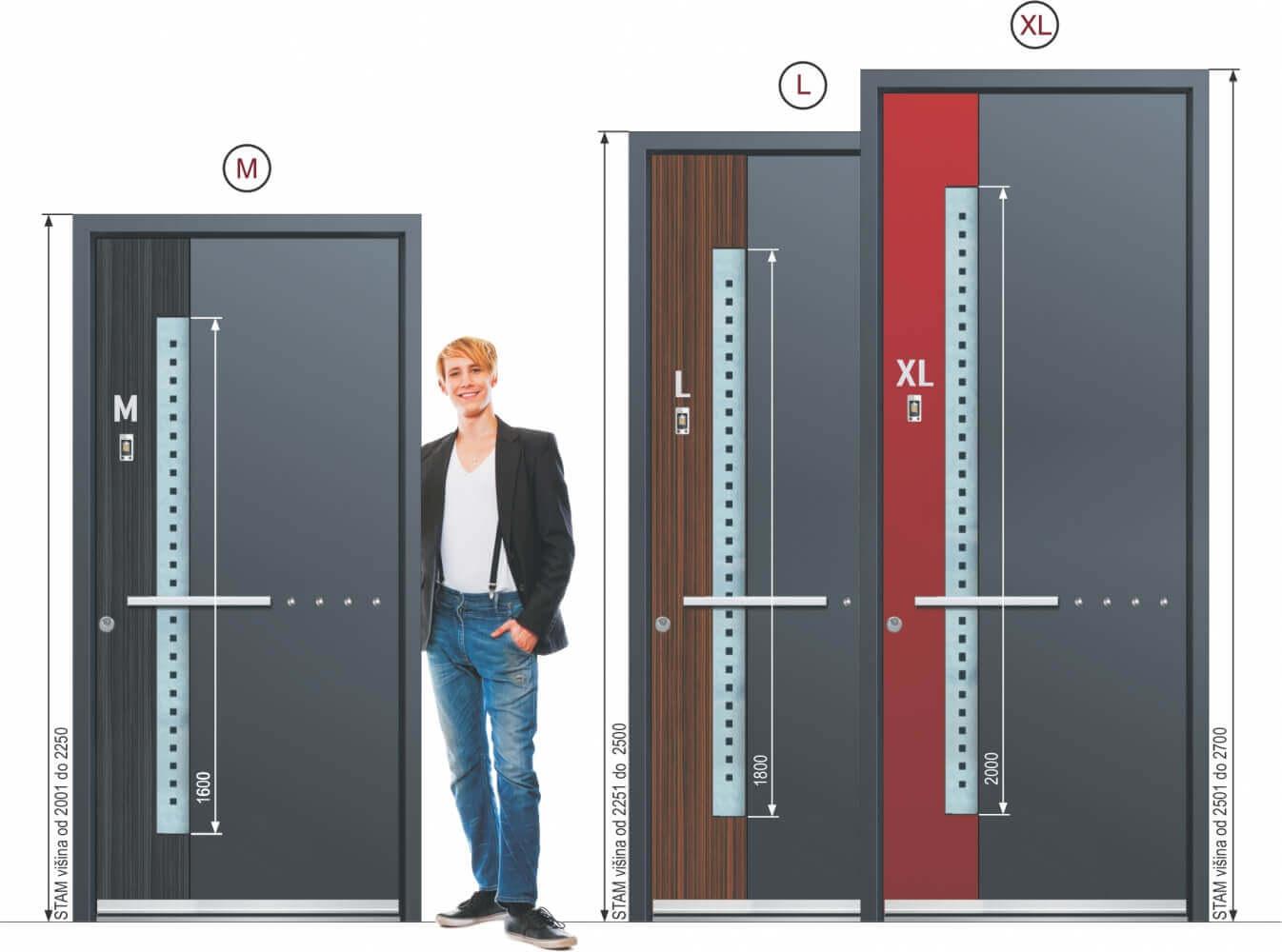 velikost hliníkových vstupních dveří